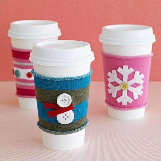 Weihnachtsgeschenke selber machen kaffeebecher ärmel