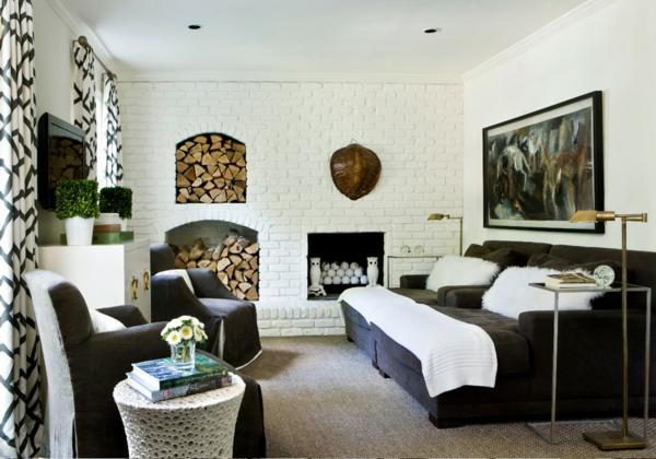 Innovative Einrichtungsideen brennholz ausstellung rustikal ziegelwand weiß