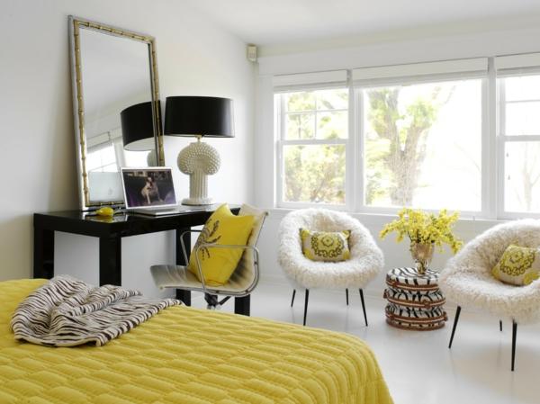 Einrichtungsideen schreibtisch spiegel gelb bettwäsche zebrа