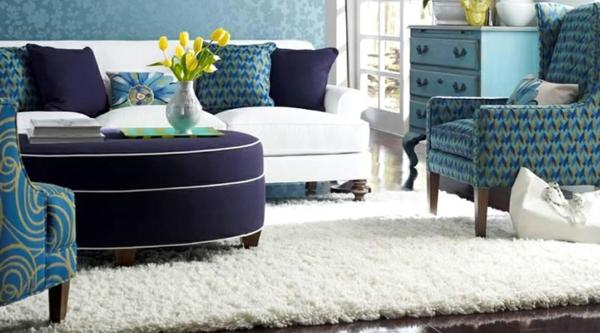 Innovative Einrichtungsideen teppich weich weiß blumen gelb