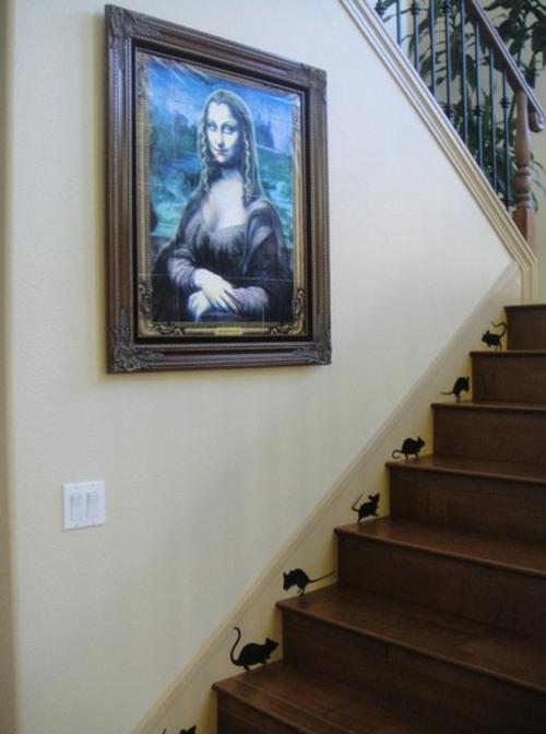 Kreative lustige Wanddekoration bemalt treppe mona lisa gemälde