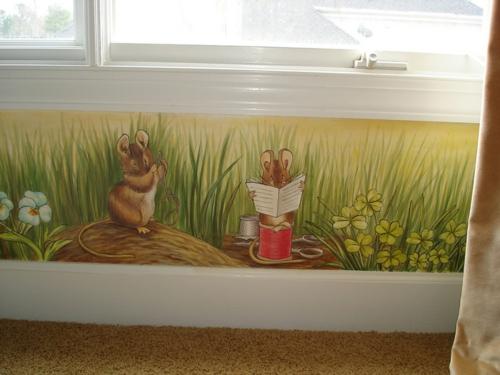 Kreative lustige Wanddekoration maus im haus malerei verspielt