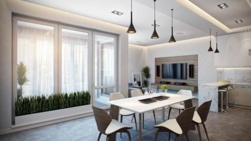 Modernes Apartment mit atemberaubender Inneneinrichtung esszimmer leuchten