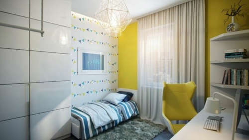 Modernes Apartment mit atemberaubender Inneneinrichtung kinderzimmer gelb