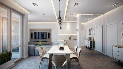 Modernes Apartment mit atemberaubender Inneneinrichtung neutrales farbschema