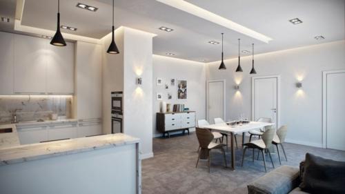 Modernes Apartment mit atemberaubender Inneneinrichtung offen wohnplan