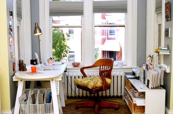 Homeoffice Design arbeitsplatz kompakt holzstuhl