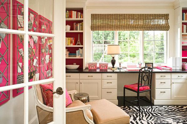 Schickes Homeoffice Design zebrastreifen teppich fenster traditionell