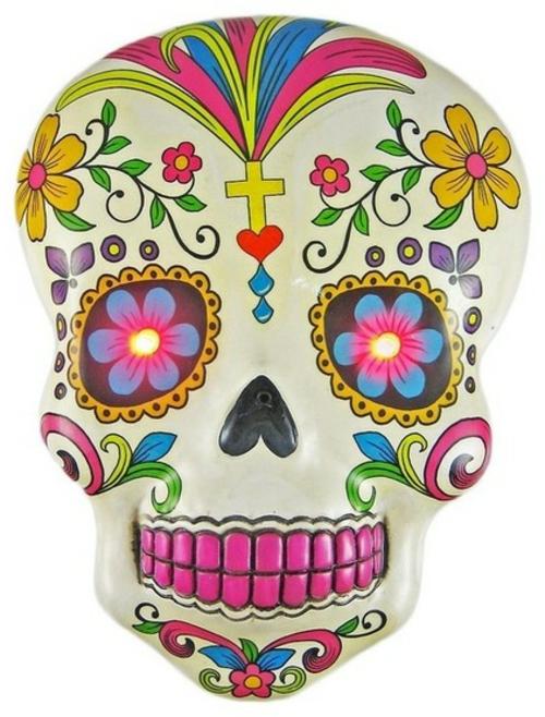 Totenkopf Dekoration zu Halloween bunt blumenmuster schädel