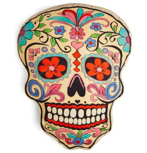 Totenkopf Dekoration zu Halloween bunt floral muster