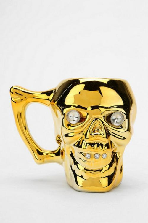 Totenkopf Dekoration zu Halloween geschirr glas tasse goldig