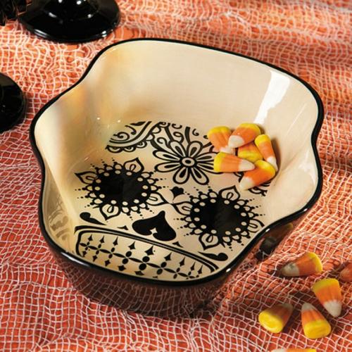Totenkopf Dekoration zu Halloween küche schale geschirr keramisch