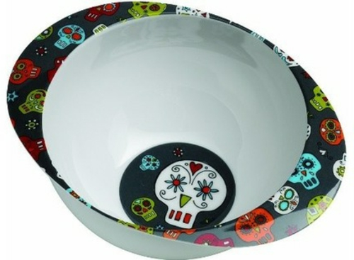 Totenkopf Dekoration zu Halloween schale schüssel küche