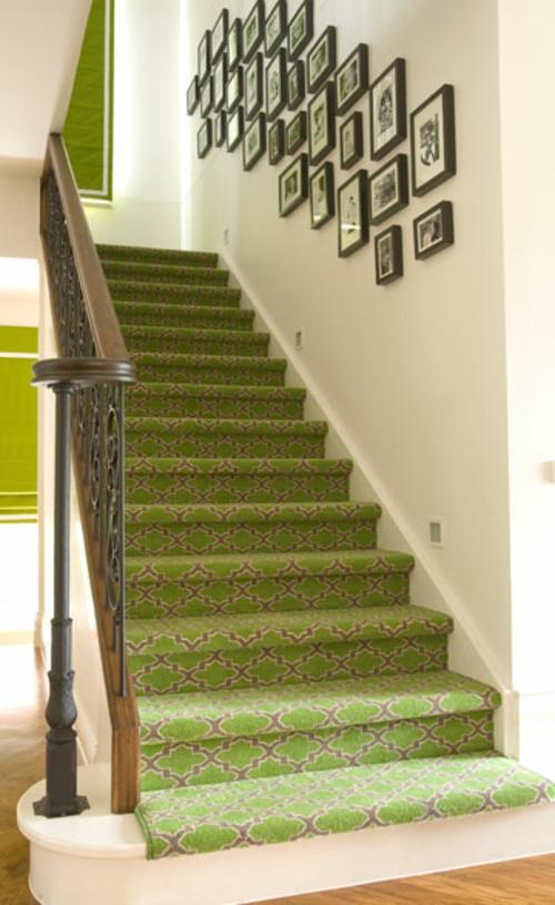 Treppenläufer und Teppiche für Holztreppen grüne