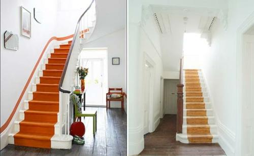 Treppenläufer und Teppiche für Holztreppen orange bevor und danach