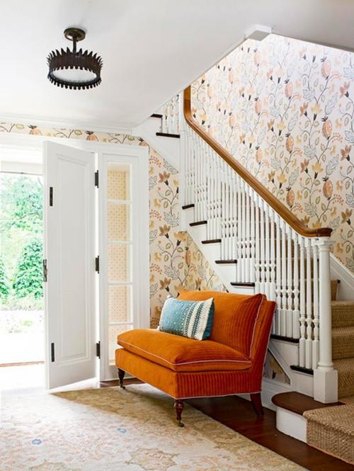 Treppenläufer und Teppiche für Holztreppen treppenhaus sofa orange