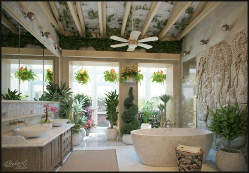 Attraktive Badezimmer Design Badewanne Pflanzen Abgehängt Decke