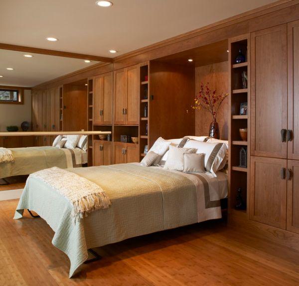coole deko ideen schlafzimmer klein eng platzsparend bett spiegel wand
