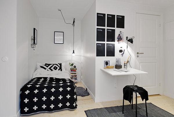 coole deko ideen schlafzimmer klein eng schwarz weiß bett