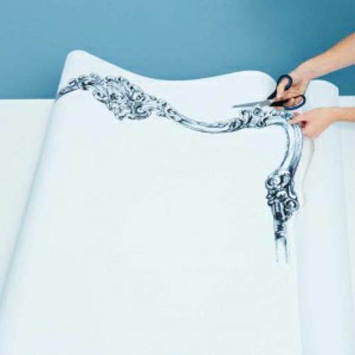 deko idee im schlafzimmer selbermachen pappe material stoff ausschneiden