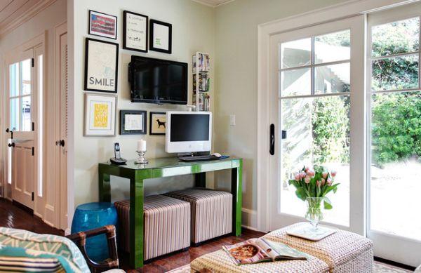 designer büro parsons desk grün arbeitsecke platzsparend hocker