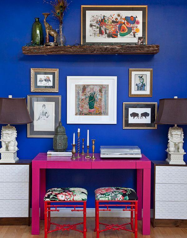 designer büro parsons desk pink farbig hocker wanddeko