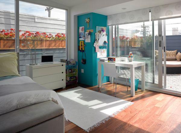 designer büro parsons desk weiß arbeitsecke schlafzimmer sonnenlicht