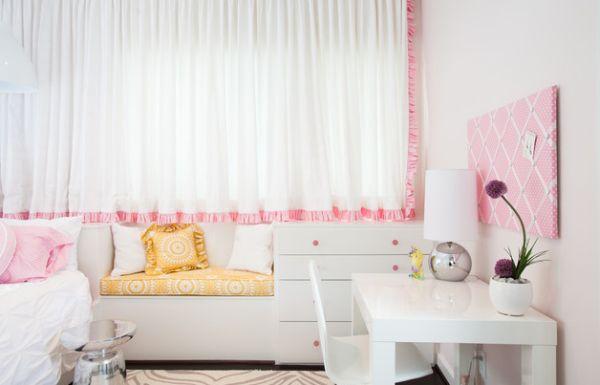 designer büro parsons desk weiß arbeitsecke zart rosa bett sofa