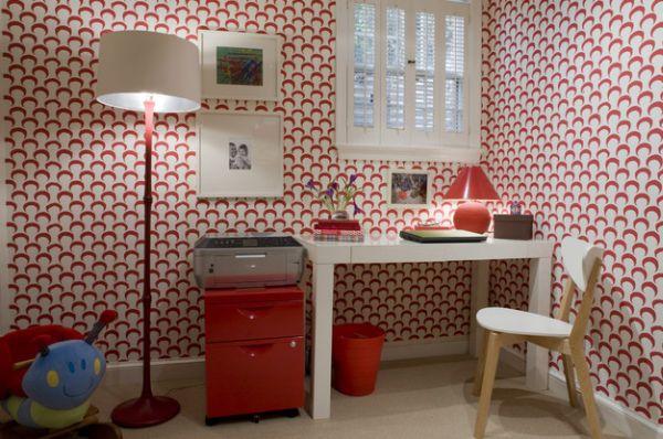 designer büro parsons desk weiß rot weiß drucker stehlampe