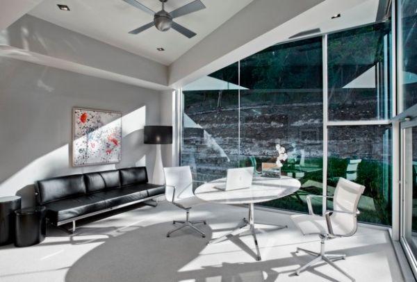 designer büro rundtisch weiß sofa fenster licht