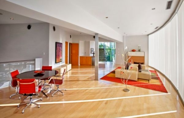 designer büro rundtisch wohnbereich offener plan