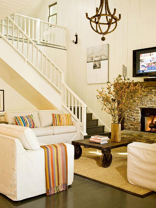 familienfreundliche wohnzimmer kaminkachel natursteine