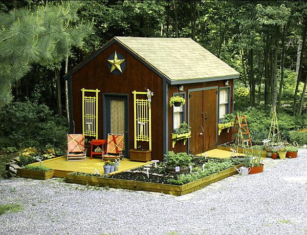gartenhaus ideen mit kräutergarten und stern