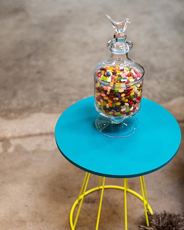 glas schüssel deckel bunt nebentisch rund blau platte