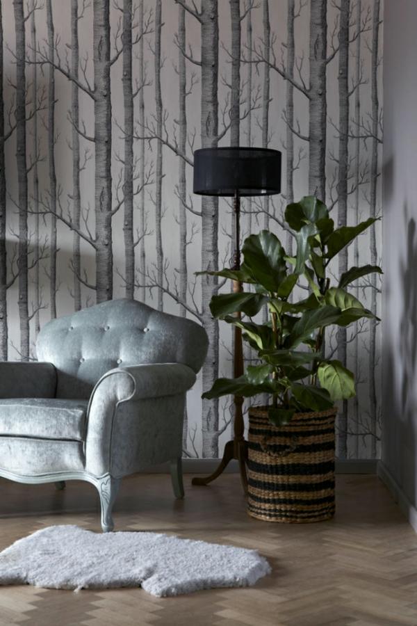 Grafische Tapeten Muster : grafische tapeten muster baum sitzecke massiver sessel bequem