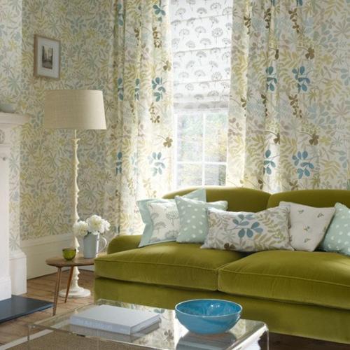grasgrün samt sofa bezug heimtextilien gardinen bodenlampe