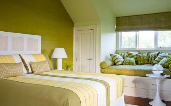 herbstfarben trends gelbgrüne wände und dekokissen