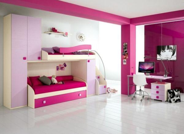 herbstfarben trends kinderzimmer in helllila und gesättigtem pink