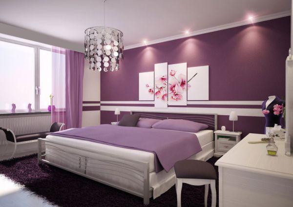 herbstfarben neue trends lila wände und bettwäsche