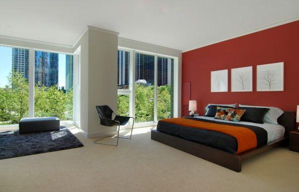 herbstfarben trends orange akzent bettdecke und panoramafenster