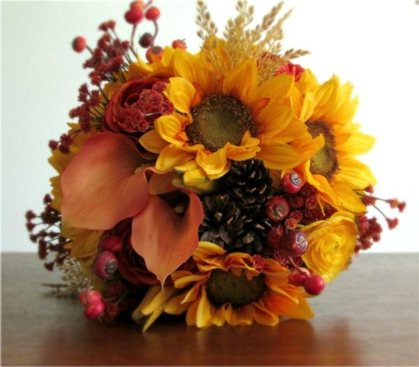 hochzeit im herbst farben sonnenblumen bouquet originell idee