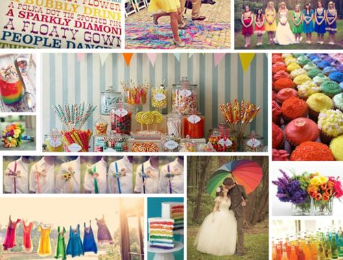 hochzeit planen regenbogen farben süßigkeiten und blumen