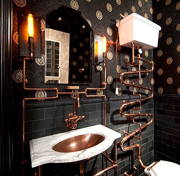 humorvolles innendesign kupfer röhren waschbecken und wasserhahn