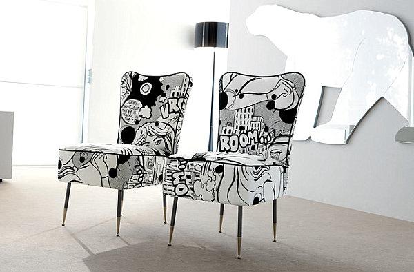 humorvolles innendesign zeichentrickfilme muster stühle