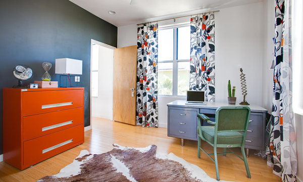 innendesign ideen orange farbe kommodem farbakzente frisch