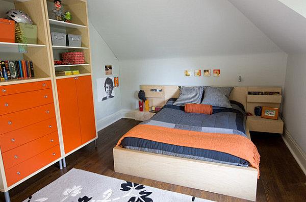 innendesign ideen orange farbe kommode farbakzente schlafzimmer