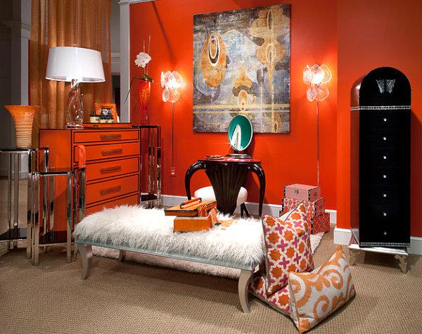 innendesign ideen orange farbe kommode wandfarbe kissen