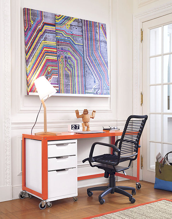 innendesign ideen orange farbe sofa büro arbeitsplatz farbakzente
