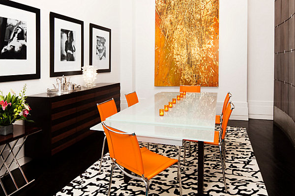 innendesign ideen orange farbe sofa essbereich stühle wanddeko