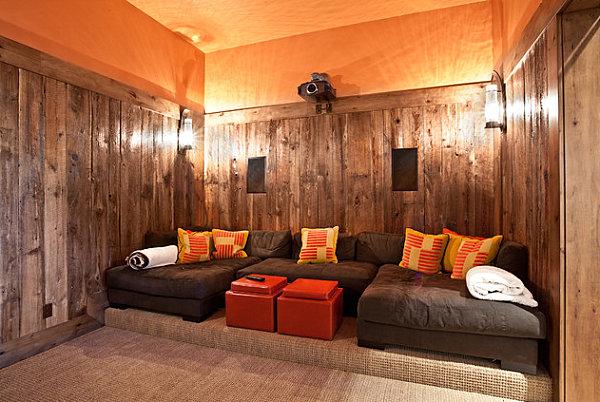 innendesign ideen orange farbe sofa hocker deko kissen